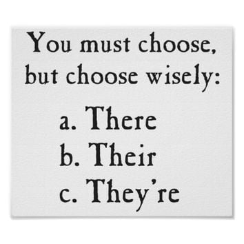 Choose Wisely There Their They're Grammar