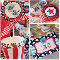 JULY 4th Party - 4th of July Printable Set - Stars and Stripes - On Sale - Full Collection with Invitation by Amanda&#x27;s Parties To Go
