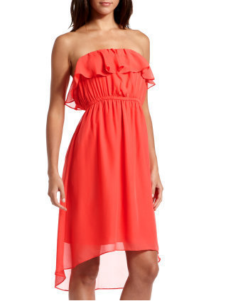 Hi-Low Ruffle Tube Dress