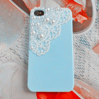 Fashion iphone pearl lace shell blue iphone 4 4s hard Case Cover For iPhone 4 Case, iPhone 4s Case, iPhone 4 GS hard case -002