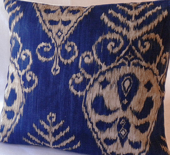 "Designer Ikat Print Pillow Cover - Sapphire/Khaki  - ""18x18"" pillow cover"