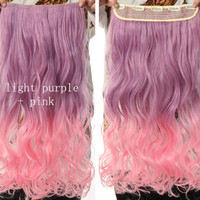 Light Purple & Pink Ombre Hair Extensions - Clip in - Wavy - Cosplay Hair Extensions