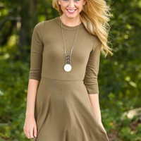 EVERLY:Time After Time Dress-Olive