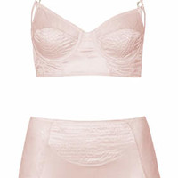 SATIN BRALET AND HIGH-WAISTED KNICKERS