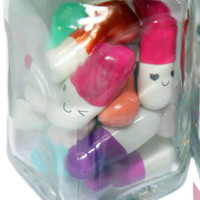 Message Pills - 2 Week Supply - Cute Kawaii Letter Capsule, message in a bottle gift
