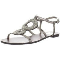 DV by Dolce Vita Women`s Dena Sandal,Dark Silver Flash Stella,6 M US