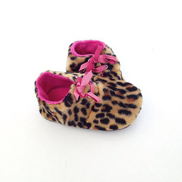 12-18 Months Slippers / Baby Shoes Lamb Leather leopard pink