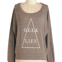 ModCloth Scholastic Short Long Sleeve It's All Geek to Me Sweatshirt