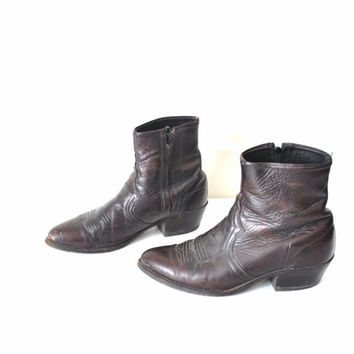 size 9.5 cowboy ankle boots / mens SOUTHWESTERN punk rock distressed ROCKABILLY western boots