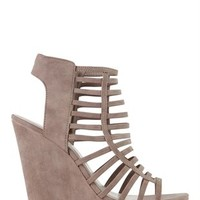 Faux Leather Caged Wedges