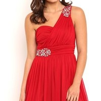 Short One Shoulder Homecoming Dress with Illusion Back and Stones