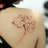 Watercolor ink drawing girls lotus flowers design tattoo temporary