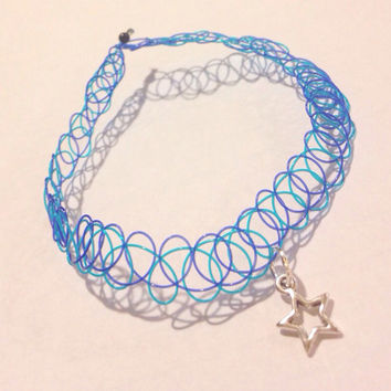 Star Tattoo Choker in Blue