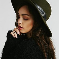Womens Embellished Matador Hat - Moss, One