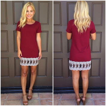 Against The Odds Shift Dress  BURGUNDY