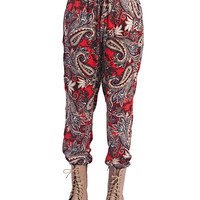 Paisley Print Joggers | Wet Seal