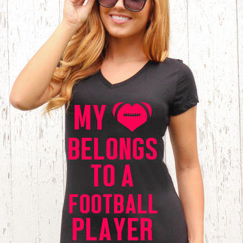 My Heart Belongs to a Football Player - V Neck Tee