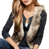 FINEJO Women Sleeveless Casual Faux Fur Vest Gilet Jacket Coat