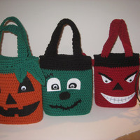 Halloween Trick or Treat Candy Bags ALL THREE included, Crochet Pattern PDF 12-047