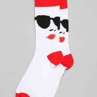 Sunglasses & Lips Sock- White One