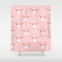 Cute Pink Pig face Shower Curtain by mailboxdisco