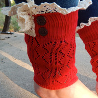 Button+Lace Boot Cuffs {Red}