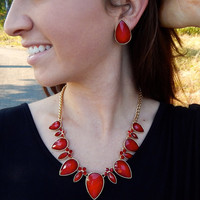 Teardrop Necklace {Red}