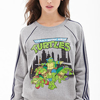 FOREVER 21 Ninja Turtles Sweatshirt Heather Grey/Blue
