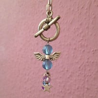 Guardian Angel Necklace blue and purple star charm bead necklace