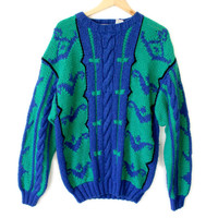 Vintage 80s Big Cable Knit Ugly Sweater