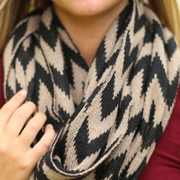 In Case of Chevron Infinity Scarf in Black