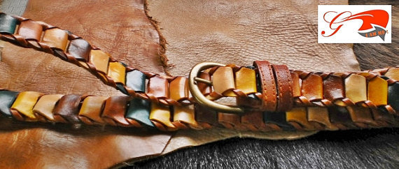 handmade leather womans belt multi color tan linked