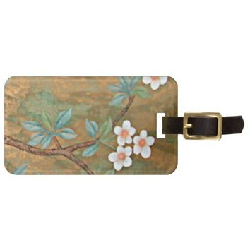 Gold w/Flower Pattern Luggage Tag