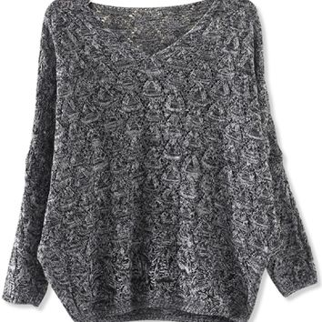 Marled V-Neck Sweater - OASAP.com