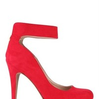 Platform Pump with Ankle Strap with Zipper Back