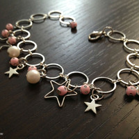 Star Bracelet pink silver stars bracelet white pearl bracelet