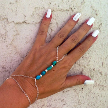 Hand jewelry, versatile can also be worn as a barefoot sandal, genuine turquoise bracelet & ring, anklet,  ankle bracelet, slave bracelet
