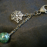 Spider Web Green Crackle Glass Chain Charm Keychain