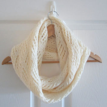Ivory Scarf - Cream Scarf - Hand Knitted Scarf - Knit Infinity Scarf - Off White Scarf - Circle Scarf - Eternity Scarf - Acrylic Knit Scarf