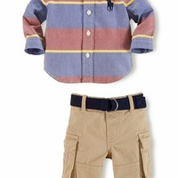 Infant Boy's Ralph Lauren Oxford Shirt & Cargo Pants