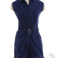 Blue 1960's (circa)  Vintage Sleeveless Playsuit Playsuit and Jumpsuit | Beyond Retro Vintage Clothing