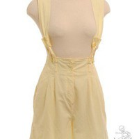 Buttercup Yellow 1980&#x27;s (circa)  1980&#x27;s Sleeveless Playsuit Playsuit and Jumpsuit | Beyond Retro Vintage Clothing