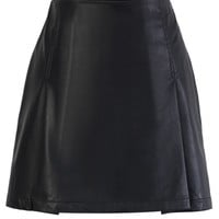 Faux Leather Bud Skirt in Black