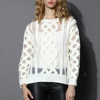 Mesh Cable Knit White Sweater