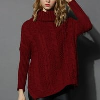 Wine Cable Knit Roll Neck Sweater