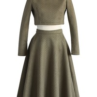Quilted Crop Top and Midi Skirt Set in Olive