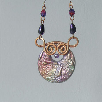 Peacock necklace, polymer clay necklace, boho copper necklace, OOAK statement jewelry