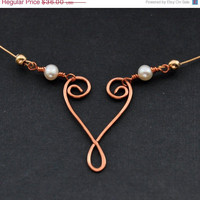 CIJ Copper Wire Heart Necklace, Mixed Metal Rustic Jewelry, Gold Fill Pearl Necklaces, Freshwater Pearls, Handmade Dainty Hearts