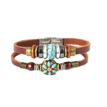 Fathers Day Gifts Tibet Hand Crafted Coral Bead & Simulated Calaite Bead Leather Bracelet -19cm-…