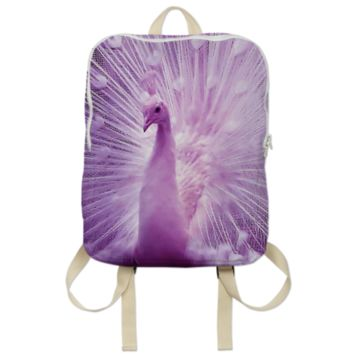 White Purple Peacock Backpack created by ErikaKaisersot | Print All Over Me